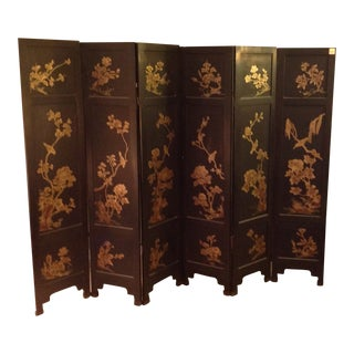 1970s Flowers & Vases Design Wooden Screen For Sale