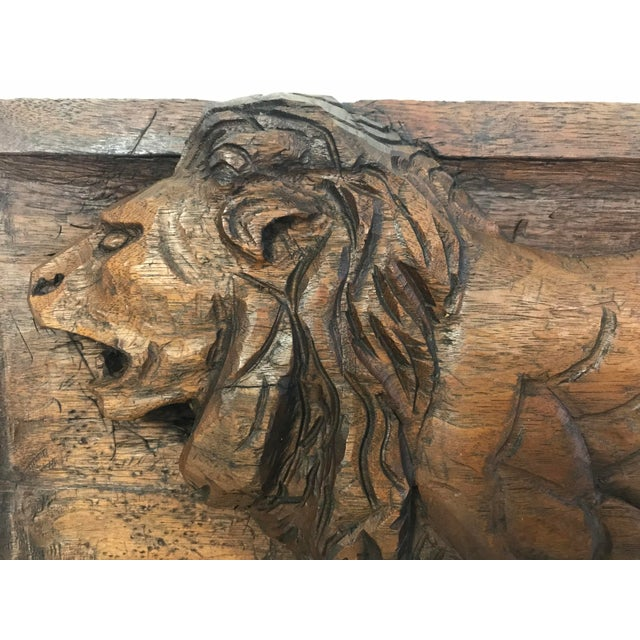 This is a fantastic carved Folk Art relief plaque of a lion, circa 1940. Perfect for the Leo in your life. Wired for...