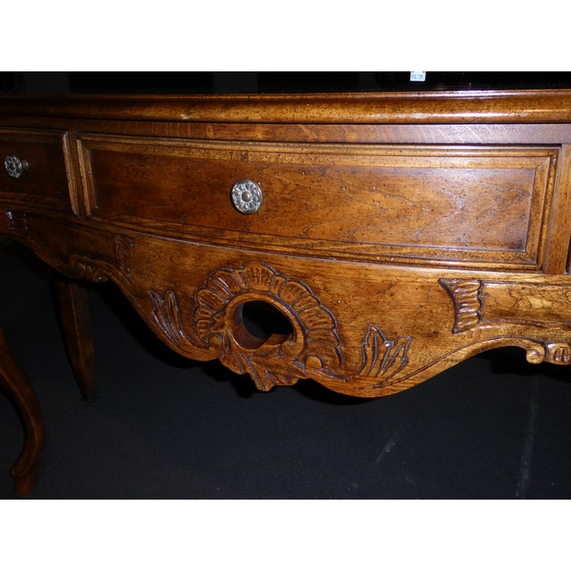 Oak Vintage Century Furniture French Style Oak Console Table For Sale - Image 7 of 11