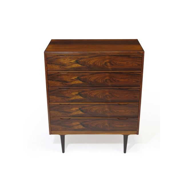 Wood Vintage Mid Century Danish Brazilian Rosewood Chest of Drawers For Sale - Image 7 of 12