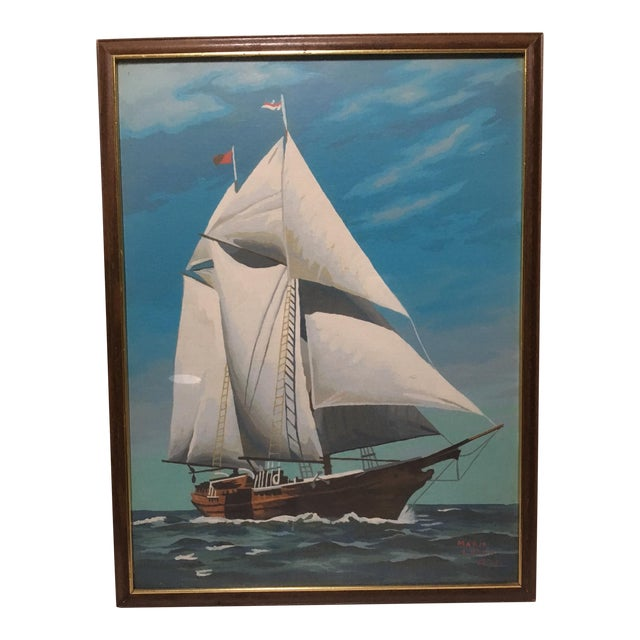 Mid-Century Painting by Number Sailing Schooner by Marie Lokey, 1974 - Image 1 of 4