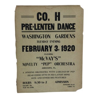 "1920 Vintage ""Washington Gardens - Johnstown, Pa"" Pre-Lenten Dance Sign For Sale"