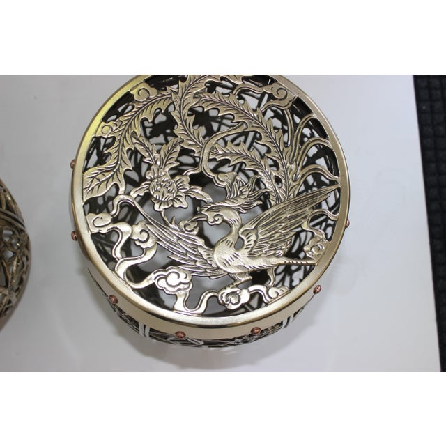 Metal Garden Stools Bamboo Crane Bird Cherry Blossom Motif in Polished Brass Fretwork - a Pair For Sale - Image 7 of 11