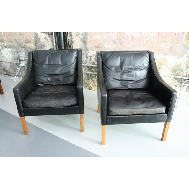 Matched Pair of Børge Mogensen Model #2207 Leather Lounge Chairs For Sale - Image 9 of 13