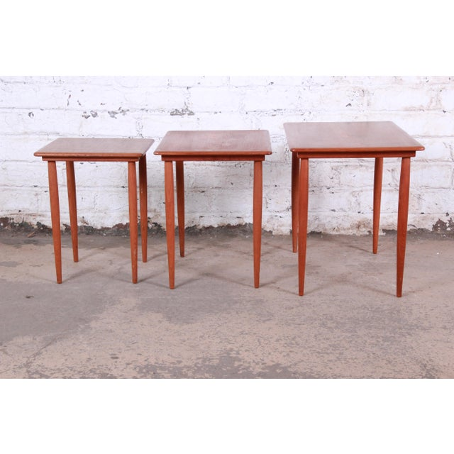 Brown Danish Modern Teak Nesting Tables - Set of 3 For Sale - Image 8 of 11