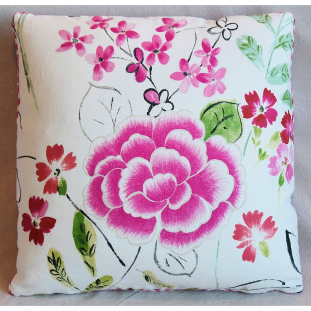 "Abstract French Manuel Canovas Floral Linen Feather/Down Pillows 20"" Square - Pair For Sale - Image 3 of 13"