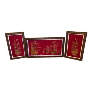 1960s Original Batik Scroll & Framed Carved Wood Ship Set - 3 Piece Set For Sale