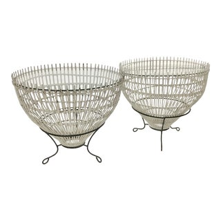 Vintage Fish Trap Basket Tables in Franco Albini Style - a Pair For Sale