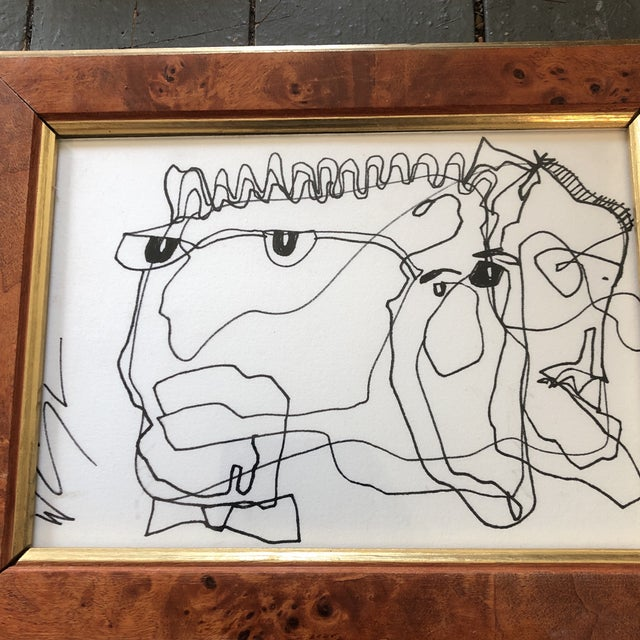 Original ink drawing on mat board Signed lower left 5 x 7 overall size with vintage Burled wood frame is 7 x 9