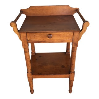 1800s Primitive Pine Single Drawer Wash Stand For Sale