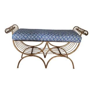 Gilt Metal Regency Lyre Form Bench With Quadrille Blue Linen Cushion For Sale