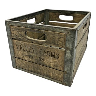Vintage Industrial Wood & Metal Milk Crate - Valley Farms