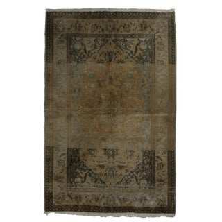 Vintage Mid-Century Hand Knotted Wool Persian Kashan Rug - 3′5″ × 5′3″ For Sale
