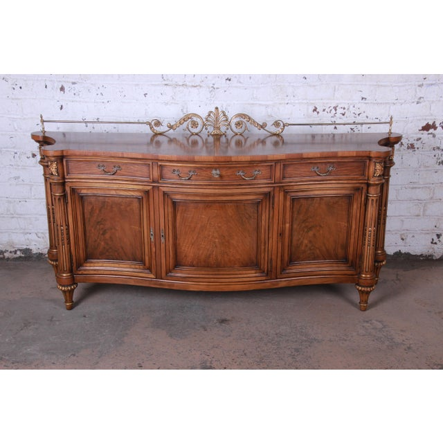 Karges French Louis XVI Style Walnut and Burl Wood Sideboard / Bar Cabinet For Sale - Image 13 of 13