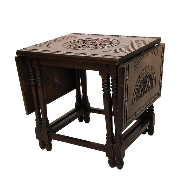 Folding Mahogany Side Table w/Floral Hand Carving - Image 3 of 4