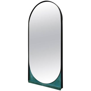 Contemporary Blackened Steel and Patinated Bronze Slip Mirror For Sale
