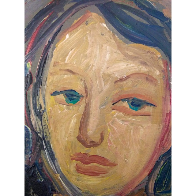 Mid-Century Modern Vintage Mid-Century Portrait of Two Females Painting For Sale - Image 3 of 7