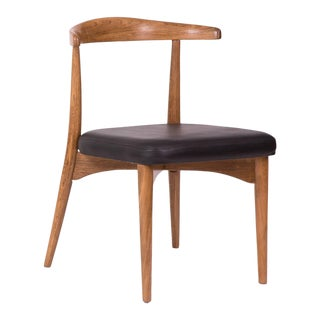 1960s Lawrence Peabody Oak Walnut and Leather Dining Chair For Sale