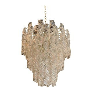 Vintage Murano Mazzega Torciglione Glass Pink Spiral 3-Tier 8 Lights Chandelier For Sale