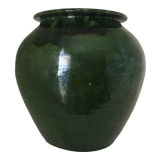 Provençal Green Earthenware Olive Jar For Sale