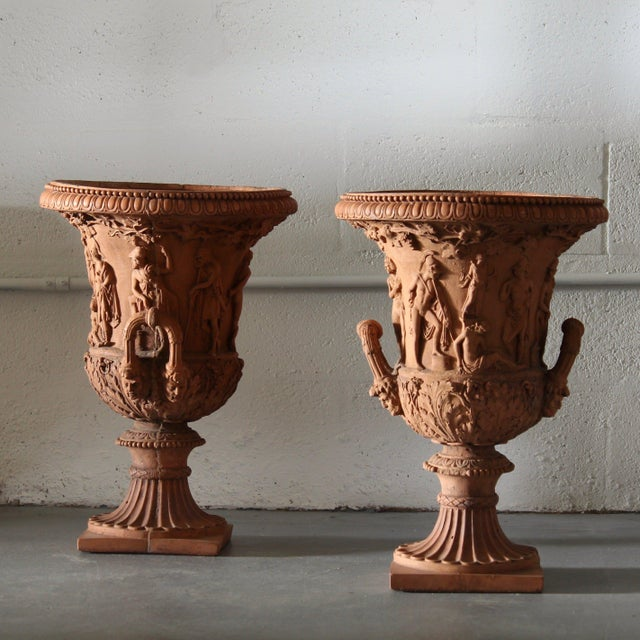 Twin Handled Terracotta Urns For Sale - Image 4 of 4