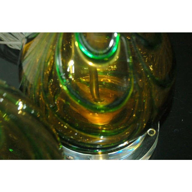 Brass Vintage Murano Glass Table Lamps Gold Green For Sale - Image 7 of 9