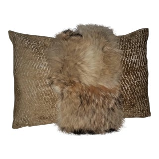 Contemporary Coyote Fur and Gold Embossed Velvet Pillow For Sale
