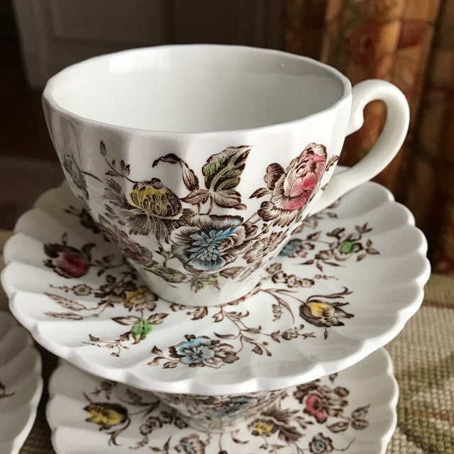 Johnson Brothers 4 Vintage English Ironstone Cups & Saucers - 8 Pieces For Sale - Image 4 of 9