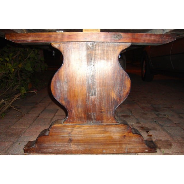 Rustic Pedestal Wrought Iron Pesky Cypress Dining Table For Sale - Image 3 of 9