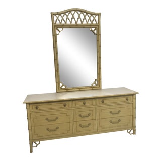 20th Century Hollywood Regency Thomasville Allegro Faux Bamboo Dresser With Mirror For Sale