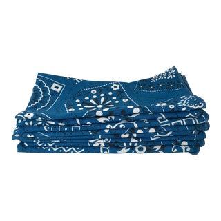 Vintage Mid-Century Blue & White Bandana Napkins - Set of 6 For Sale