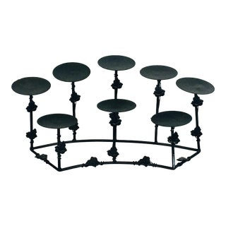 1950s Modern Deco Gothic Wrought Iron Candle Holder For Sale