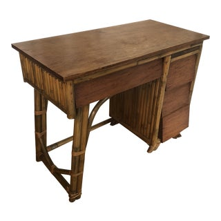 Vintage Mid-Century Honduras Mahogany and Bamboo Writing Desk For Sale
