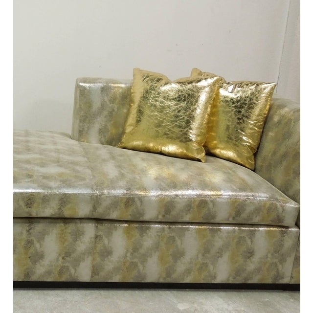 Early 21st Century Contemporary Custom Made Modern Metallic Leather Sofa/Chaise For Sale - Image 5 of 6