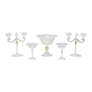 Cenedese, Murano 5 Piece Table Centerpiece Set with White Threading For Sale