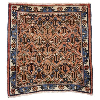 Vintage Persian Tabriz Accent Rug with Mina-khani Design, Small Persian Rug