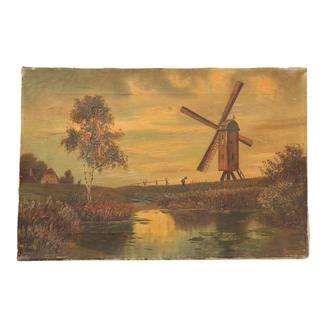 Antique Countryside Landscape Windmill Painting For Sale