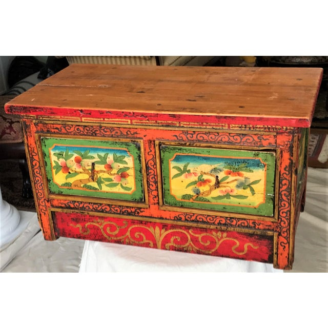 Asian Antique Hand Painted Tibetan Chest For Sale - Image 3 of 10