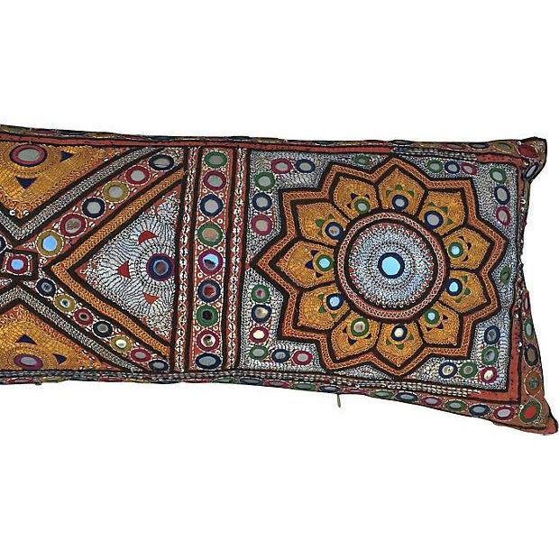 Indian Embroidered Metallic Body Pillow For Sale In Los Angeles - Image 6 of 6