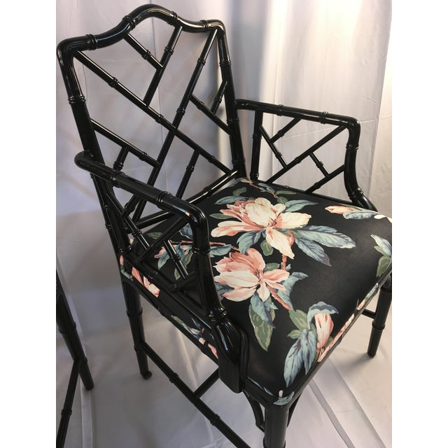 1980s Chinese Chippendale Black Lacquer Arm Chairs - a Pair For Sale - Image 9 of 11