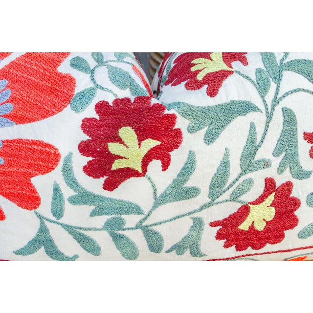 Paoli Coral Floral Suzani Pillow For Sale - Image 4 of 10