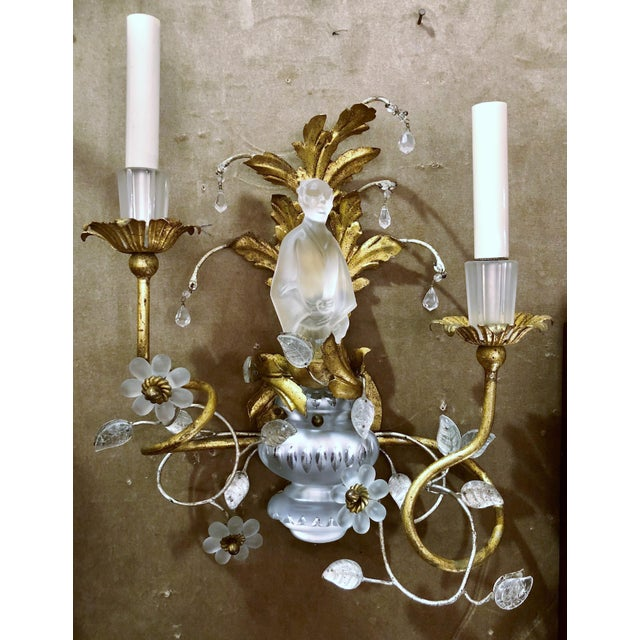 Superior Pair Chinoiserie Sherle Wagner Art Glass Wall Sconces | DECASO