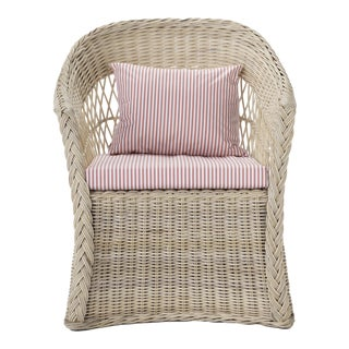 Worth Chair W/ Coral Stripe Cushion For Sale