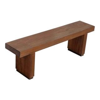 Vintage Rustic Modern Restored Solid Wood Bench For Sale