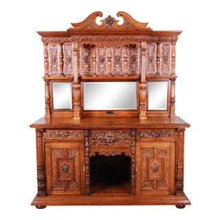 19th Century Ornate Carved Oak Back Bar or Sideboard Cabinet For Sale