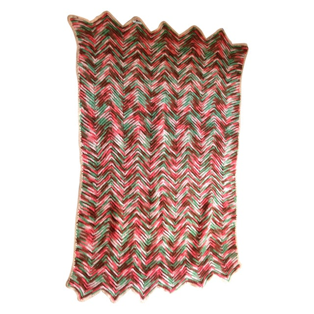 Hand Knitted Zig Zag Wool Throw - Image 1 of 5