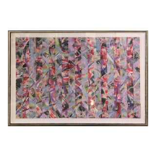 2017 Contemporary Abstract Gestural Pink and Red Woven Mixed-Media Painting by Ibsen Espada, Framed For Sale