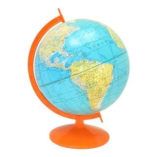 Orange Mid Century Modern Rand McNally World Globe For Sale