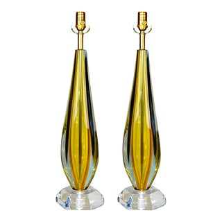 Vintage Flavio PolinGold Murano Glass Table Lamp Pair For Sale