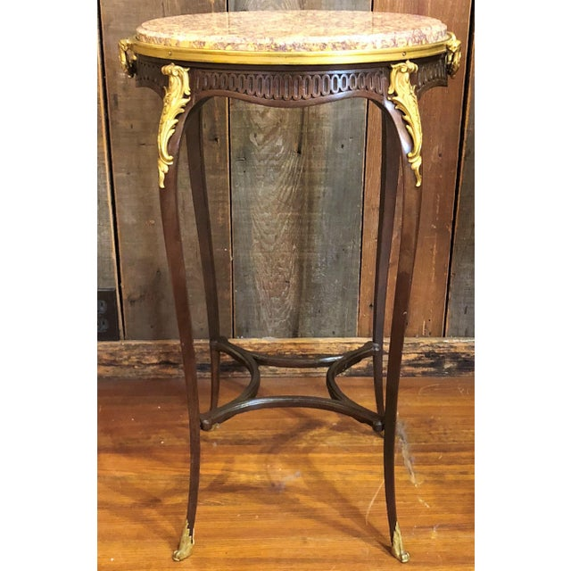 Late 19th Century Antique French Mahogany Ormolu Mounted Occasional Table with Marble Top. For Sale - Image 5 of 5